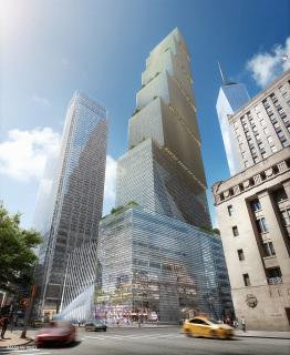 Obr. 09. Vizualizace pohledu na nově navrženou věž 2WTC od severovýchodu,  zdroj: BIG