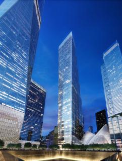 Obr. 12. Vizualizace pohledu na nově navrženou věž 2WTC z Memorial Parku,  zdroj: BIG