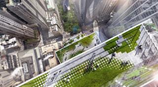 Obr. 01. Vizualizace pohledu shora na terasové zahrady východní fasády věže 2WTC, zdroj: BIG
