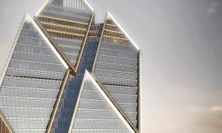 Obr. 04. Detail vrcholového zkosení kvadrantů Fosterova návrhu věže 2WTC