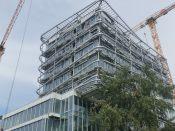 Sekundární ocelová konstrukce s úpony pneumatické fasády ETFE