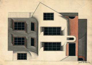 Návrh průčelí rodinného domu od Jaroslava Fragnera (studentská práce), 1919–1921  (zdroj:  Malostranský  archiv  Jaroslava  Fragnera,  Wikimedia  Commons, CC BY-SA 3.0 CZ)