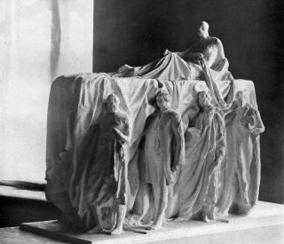 Návrh pomníku T. G. Masaryka od Vincence Makovského a Jaroslava Fragnera pro areál Pražského hradu, 2. díl soutěže, 1937 [1]