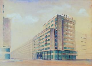 Budova  Merkur,  užší  soutěž,  1934  (zdroj:  Malostranský  archiv  Jaroslava  Fragnera, Wikimedia Commons, CC BY-SA 3.0 CZ)