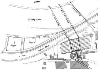 Situační plánek staré čistírny odpadních vod v Praze-Bubenči v době výstavby [8]