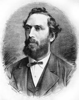 Architekt Josef Mocker (zdroj: Jan Vilímek, Portréty osobností, Humoristické listy 1881, č. 39)