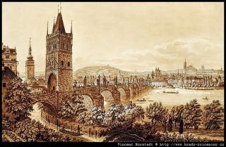 Pražský hrad a Malá Strana od kláštera křižovníků se Staroměstskou mosteckou věží před Mockerovou úpravou, 1825 (zdroj: obraz Vincence Morstadta)