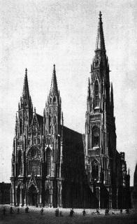 Mockerův návrh na dostavbu katedrály před rokem 1883 (zdroj: František Ekert: Posvátná místa král. hl. města Prahy)