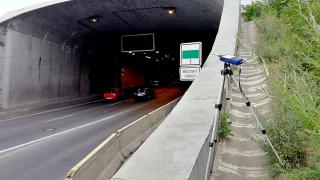 Měření za běžného provozu – poloha mikrofonu S.J2 u jižního portálu Strahovského tunelu