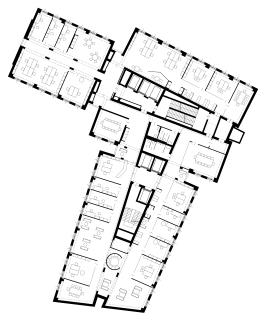Obr. 17 Půdorys typického podlaží výškové budovy