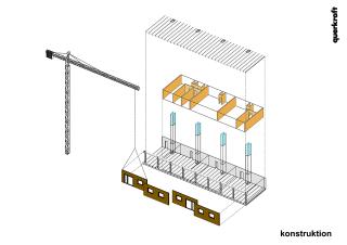 Obr. 09 Konstrukční systém; šedě – železobeton, hnědě – prefabrikované dřevěné panely, modře – instalační šachty