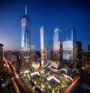 Obr. 15. Vizualizace budoucího večerního pohledu na dokončený komplex WTC, zdroj: DBOX (říjen 2016)