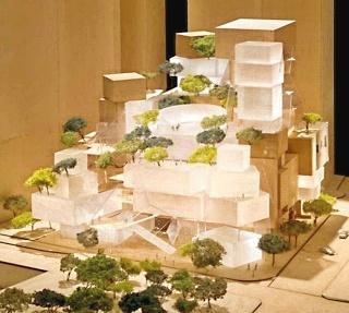 """Obr. 02. Model Gehryho návrhu """"divadelní"""" budovy Performing Arts Center (únor 2005)"""