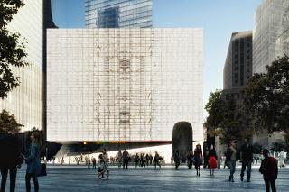 Obr. 07. Vizualizace čelního pohledu na fasádu budovy se zapuštěným vchodem, zdroj: DBOX