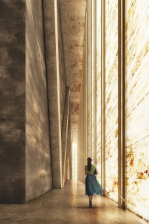 """Obr. 09. Vizualizace osvětlení interiéru budovy průsvitným """"mramorovým"""" pláštěm, zdroj: DBOX"""