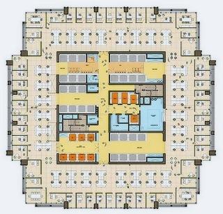 Obr. 16. Dispozice kancelářského podlaží v dříku věže 3WTC, zdroj: Silverstein Properties