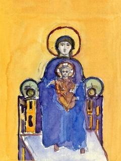 Obr. 10a. Transpozice mozaiky zchrámu Hagia Sofia do návrhu nového kostela, zdroj: Calatrava Valls