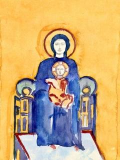 Obr. 10b. Transpozice mozaiky zchrámu Hagia Sofia do návrhu nového kostela, zdroj: Calatrava Valls