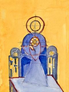 Obr. 10d. Transpozice mozaiky zchrámu Hagia Sofia do návrhu nového kostela, zdroj: Calatrava Valls