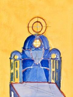 Obr. 10e. Transpozice mozaiky zchrámu Hagia Sofia do návrhu nového kostela, zdroj: Calatrava Valls