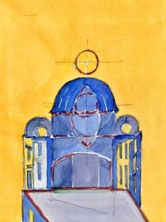 Obr. 10f. Transpozice mozaiky zchrámu Hagia Sofia do návrhu nového kostela, zdroj: Calatrava Valls
