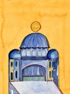 Obr. 10g. Transpozice mozaiky zchrámu Hagia Sofia do návrhu nového kostela, zdroj: Calatrava Valls