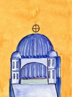 Obr. 10h. Transpozice mozaiky zchrámu Hagia Sofia do návrhu nového kostela, zdroj: Calatrava Valls
