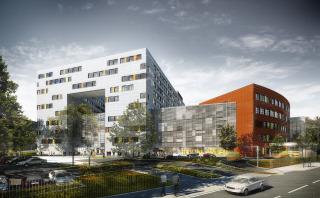 Traumacentrum Fakultní nemocnice Královské Vinohrady. Záměrem architekta bylo vytvořit seriózní nadčasový design se zlidšťujícími prvky. Vizualizace.