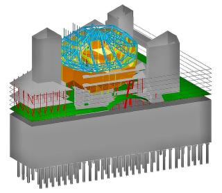 Obr. 37 Rozvržení hlavních prvků betonové nosné konstrukce budovy
