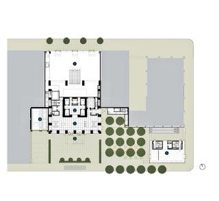 Obr. 06 Půdorys přízemí komplexu 432 Park Avenue (Rafael Viñoly Architects); 1 – vstupní lobby rezidenční věže, 2 – hala s přístupem k výtahům, 3 – privátní plaza před vchodem do věže, 4 – automobilové výtahy do parkingu podél 56. ulice, 5 – maloobchodní prodejny při 57. ulici a při Park Avenue