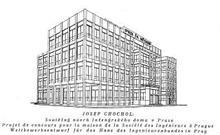 Soutěžní návrh inženýrského domu v Praze, perspektiva, 1920