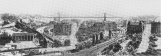 Návrh na Nuselský most s názvem Neporušené údolí autorů J. Chochola, L. Kopečka a J. Křížka, 4. cena, 1926