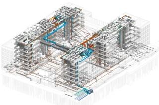 Administrativní komplex COM CITY Moskva, část BRAVO – projekt v BIM s LOD 300 se zvýrazněním rozvodů TZB