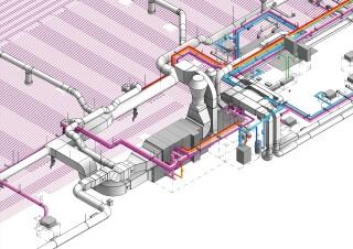 Strojovna vzduchotechniky pro řetězec supermarketů, v pozadí systém aktivace betonového jádra, LOD 400