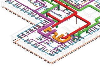 Zařízení pro techniku prostředí administrativní budovy komplexu COM CITY Moskva, část ALFA, systém Shell&Core, LOD 300 (zdroj: http://www. jakubcigler.archi/com)