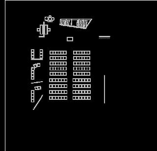 Obr. 05 Půdorys 1.NP, 1 – foyer; 2 – hlavní sál; 3 – šatna; 4 – hygienické zařízení; 5 – sakristie