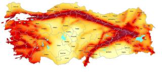 Seismické zóny Turecka. Istanbul je v oranžové zóně s rizikem PGA 2,4 až 4,0 m/s2.