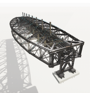 16 Sestava NOK a SOK, fáze otočení konstrukcí 90°. Model