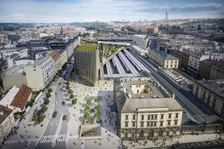 První etapa revitalizace okolí Masarykova nádraží podél ulice Na Florenci v Praze 1, vizualizace
