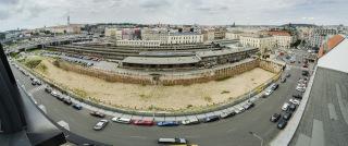 Rozvojové území v okolí Masarykova nádraží, současný stav, panoramatický snímek