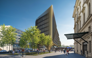 Polyfunkční stavba v ulici Na Florenci s hlavní dominantou první etapy projektu – zlatou věží, vizualizace