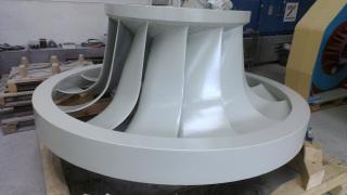 Oběžné kolo po konečné opravě s keramickým nástřikem na povrchu