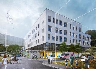 DGPN - Bílá fasáda s výraznými spárami a okenními otvory podtrhuje minimalismus nového pavilonu, vizualizace
