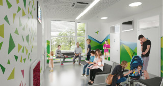 DGPN - Interiér pavilonu podtrhuje proklientský přístup k pacientům , vizualizace