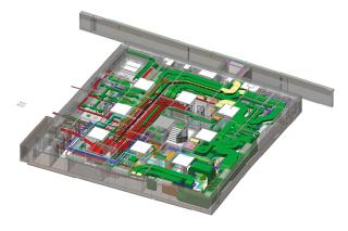 Waltrovka - model 1.PP 3D zobrazení vedení rozvodů TZB v suterénu budovy. V pravé části jsou vidět vzduchotechnické rozvody (tmavě zelená), uprostřed páteřní kabelové trasy elektroinstalací (červeně).