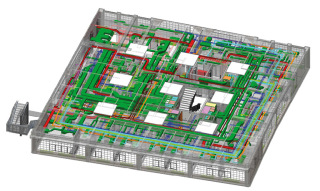 Waltrovka - model 5.NP. Prostorové zobrazení rozvodů TZB v typickém patře objektu. Z obrázku je patrné využití podstropního prostoru bez velkých rezerv a po obvodu (podél chodby) je vidět umístění potrubí chlazení (světle modrá barva) k jednotlivým pokojům.