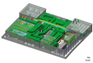 Waltrovka - model střecha. 3D výkres střechy objektu se zakreslením náročné koordinace technologických rozvodů, zejména vzduchotechnických potrubí (tmavě zelená barva), krytých akustickou zástěnou.
