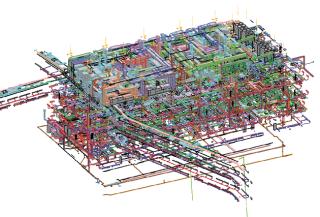 DGPN - 3D model všech profesí TZB v objektu a přilehlých koridorech