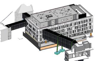 3D model pavilonu DGPN, pohled ze západu