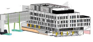 3D model pavilonu DGPN, pohled z jihozápadu